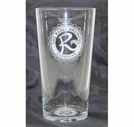 Rebel Brewing Co Branded Logo Straight Pint Glass